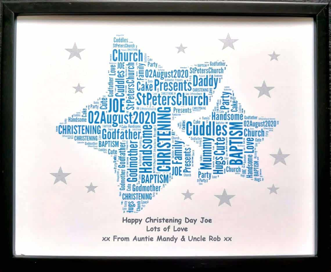 Twins Word Art with double blue stars - Baptism gifts for boys