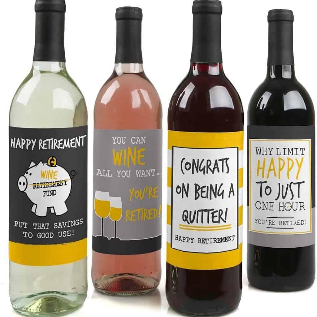 Wine Bottle Label Stickers in four wine bottles