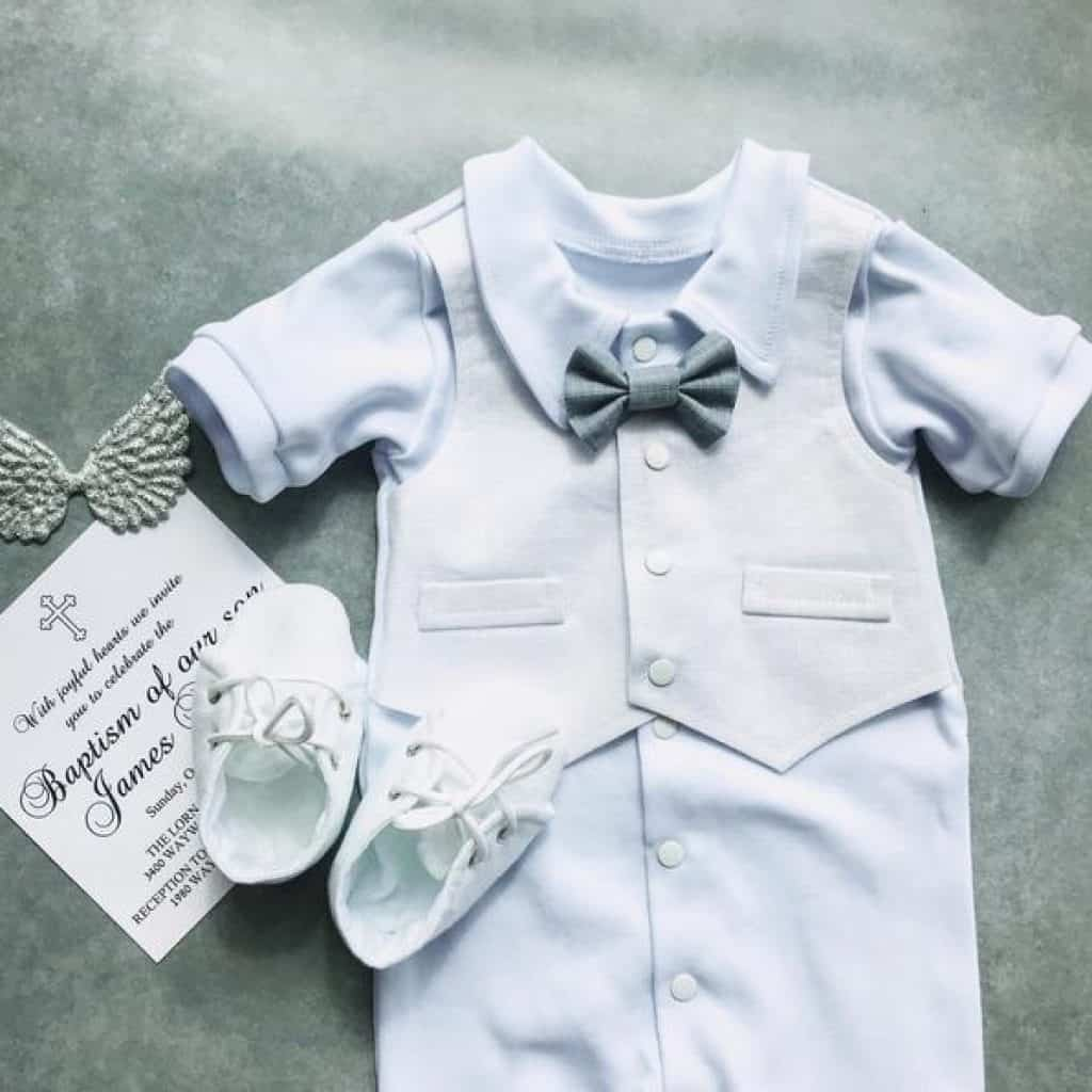 Blue Baby Boy Christening Suit with a pair of shoes