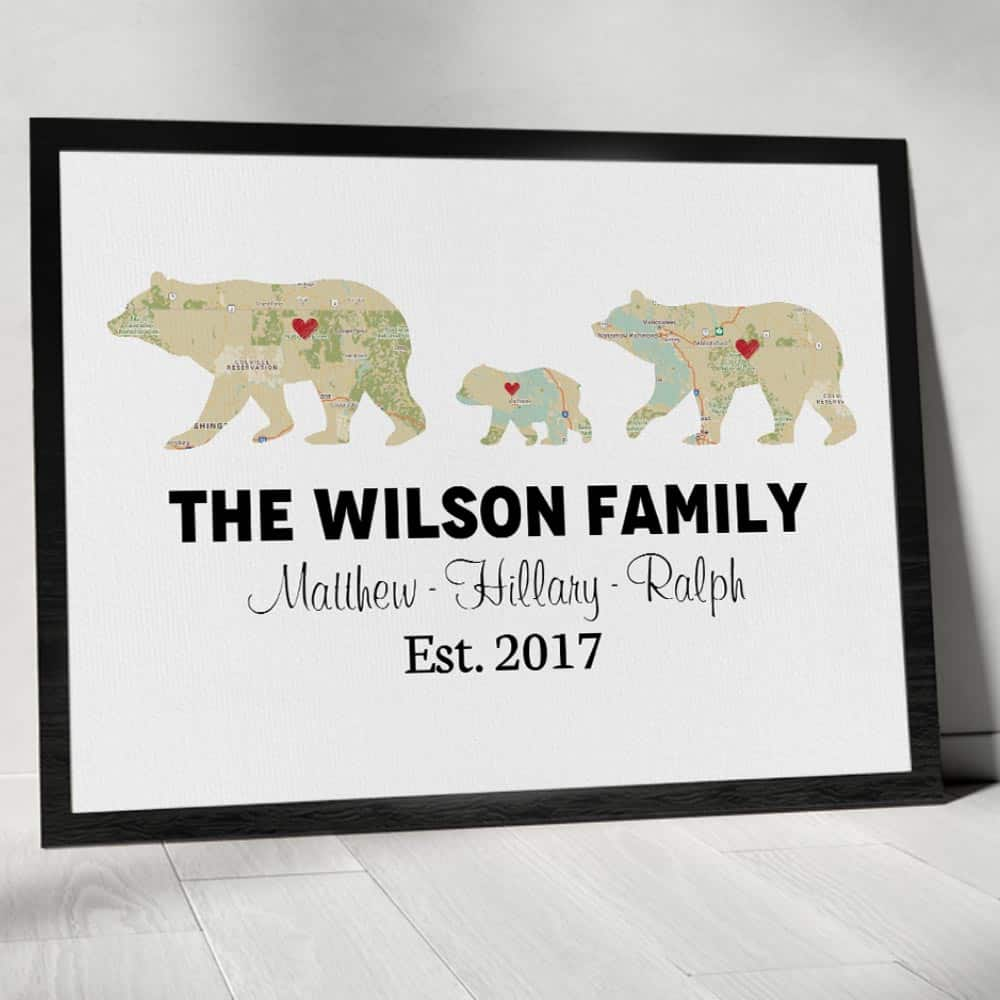 best uncle gifts: bear family custom map canvas print