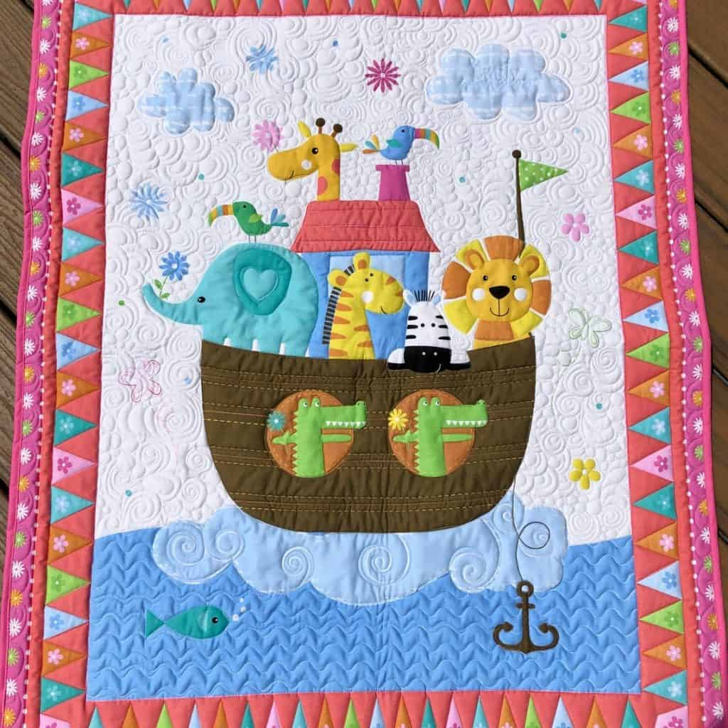 Baby Quilt with picture of Noah' Ark - baptism gifts for girls
