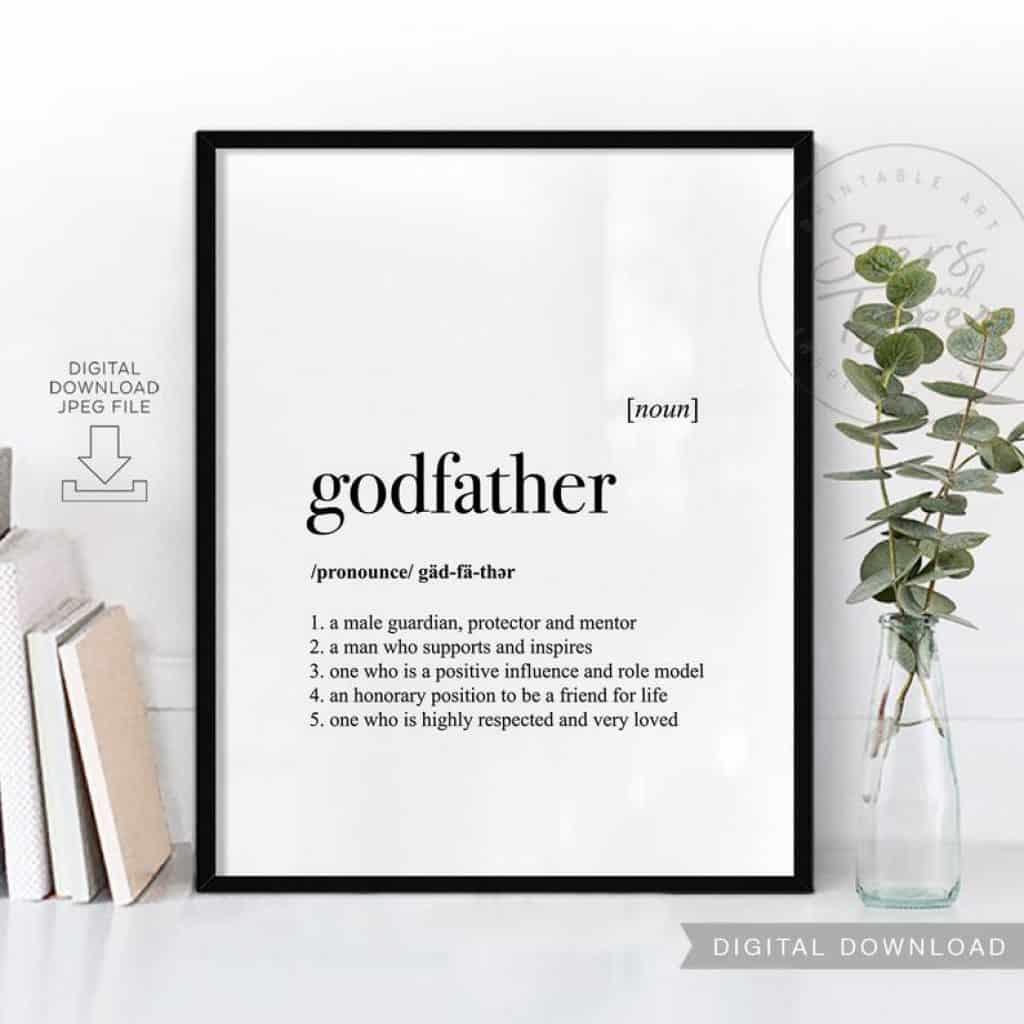 godfather gift idea: godfather definition printable art