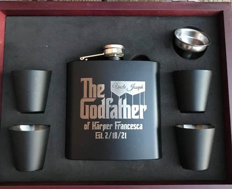 best gifts for godfather: godfather inspired flask set