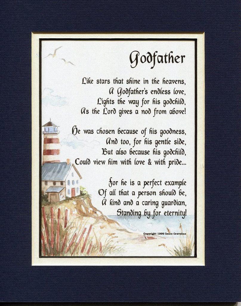 gifts for god father: godfather poem frame
