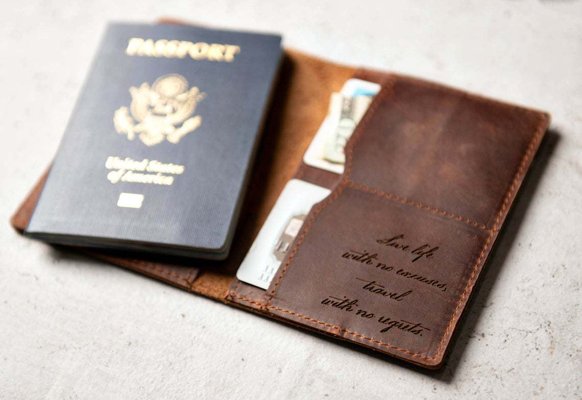 Leather Passport Cover and blue passport
