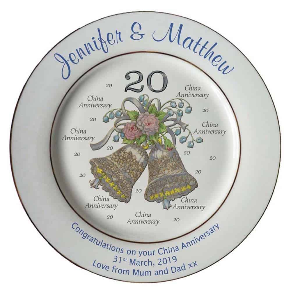 personalized china plate for 20th anniversary