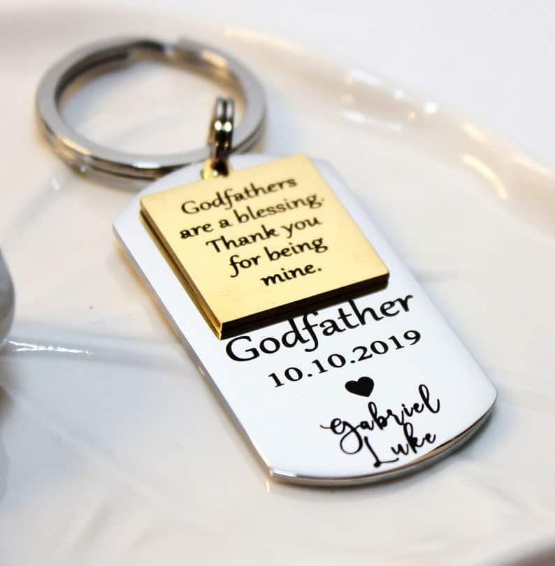 personalized godparent gift: custom godfather keychain