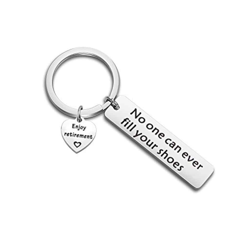 A simple, inexpensive retirement gift for women: retirement keychain