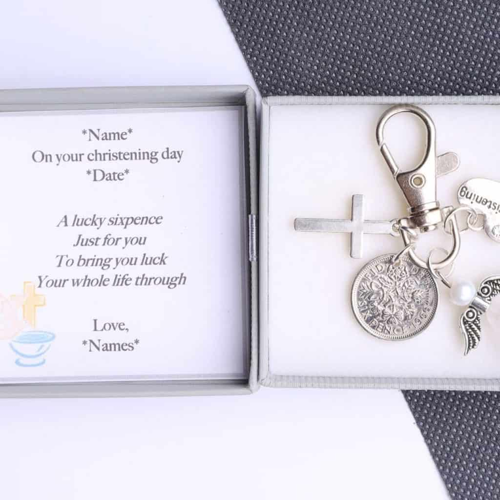 Sixpence Keychain put in a box - baptism gifts for girls