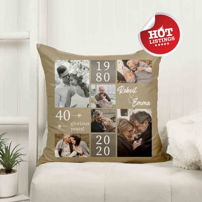 40th anniversary pillow