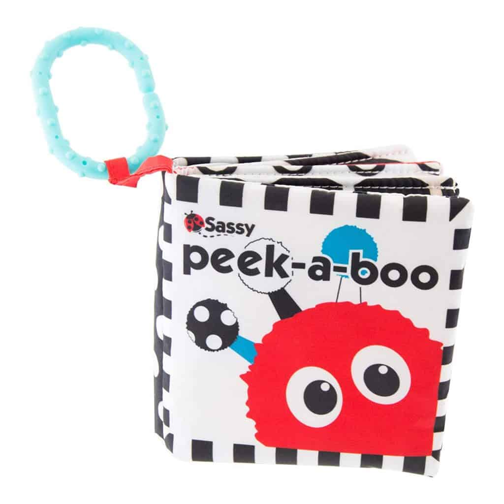 Sassy Peek-a-Boo Activity Book with Attachable Link (Black & White version) - baby boy gifts