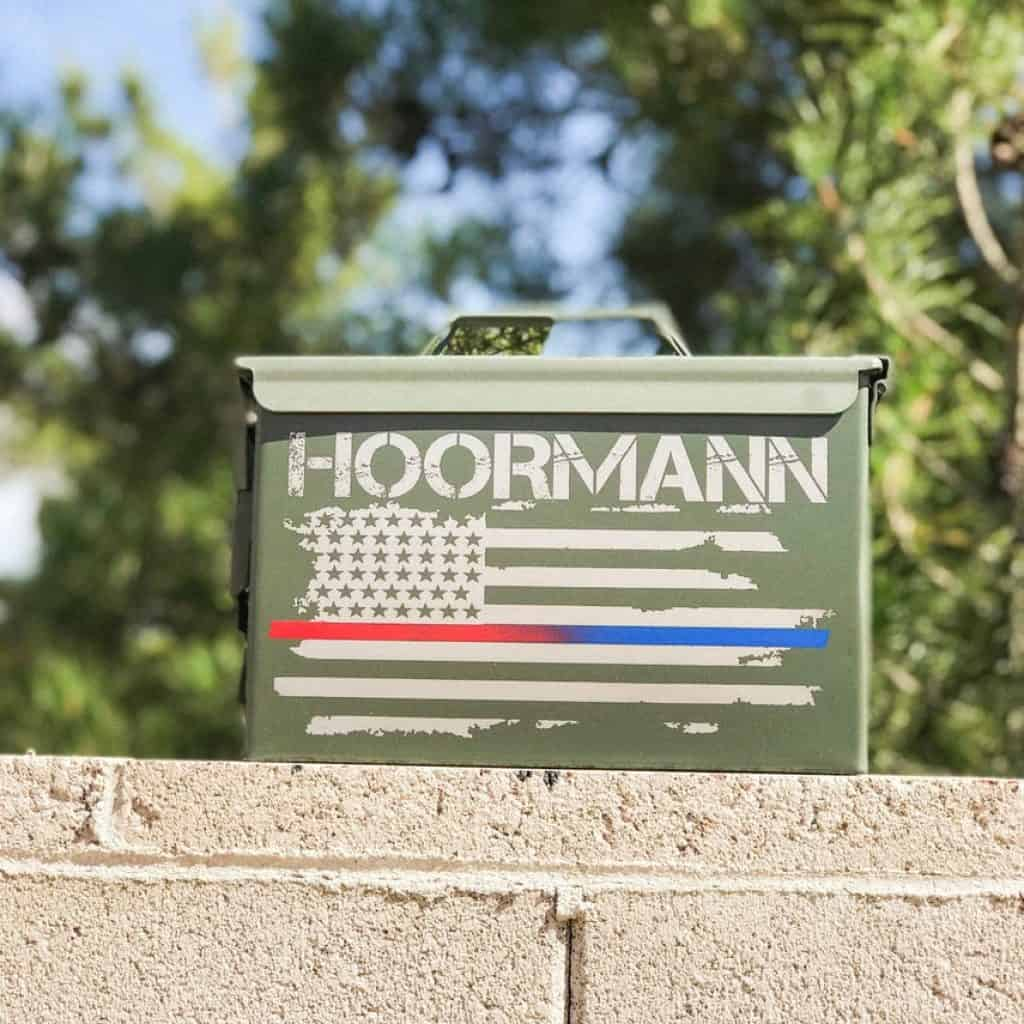 "Ammo Box with the text ""Hoormann"" - groomsmen gift ideas"