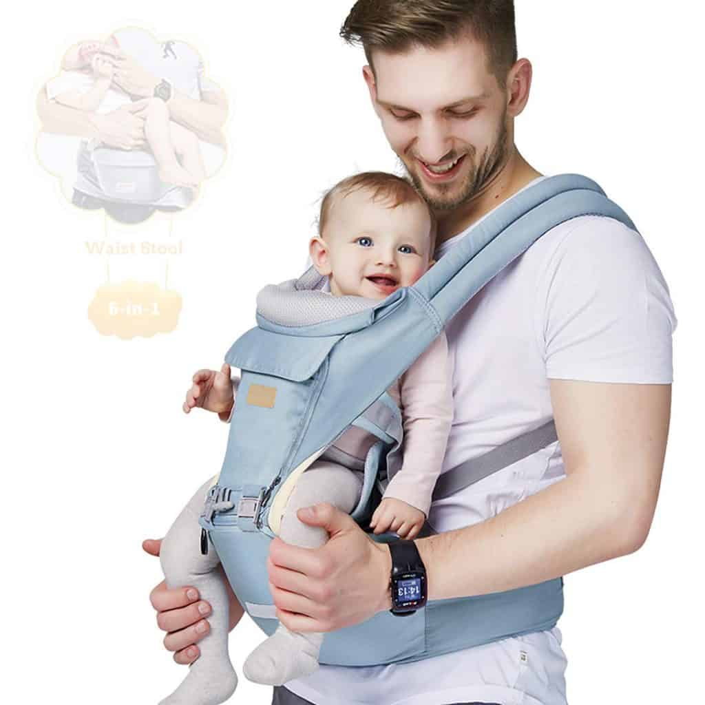 6-in-1 Baby Carrier with Waist Stool- and Hip Seat for Breastfeeding, baby boy gifts