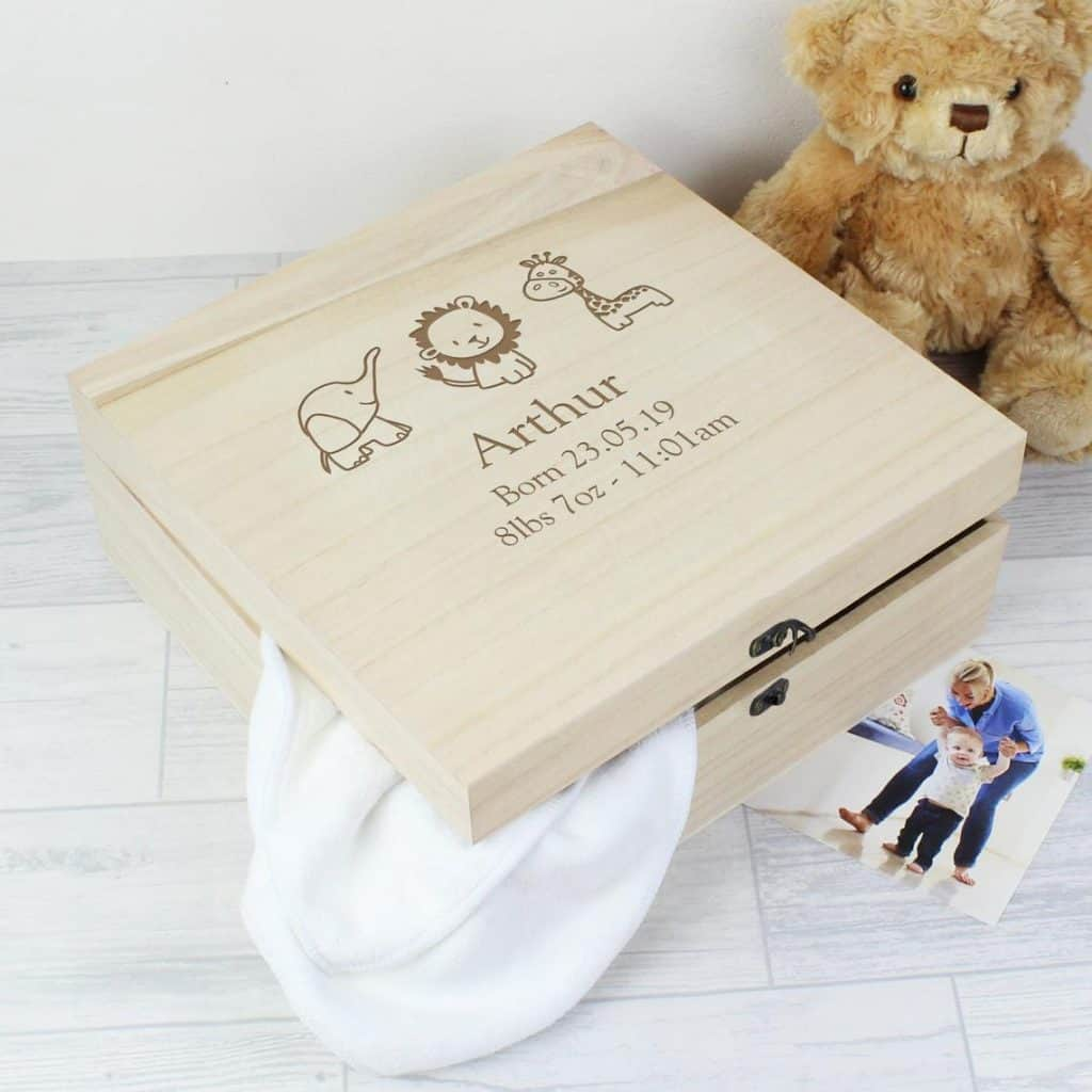 Personalized Wooden Baby Keepsake Box with animals picture and name