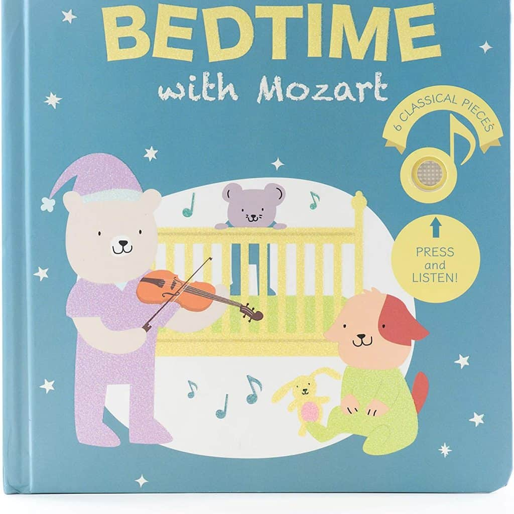 Bedtime with Mozart Press book with pictures of a bear a dog, a rabbit and a mouse