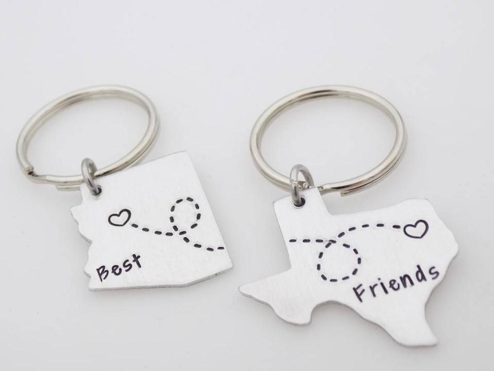 Best Friends State Map Key Chains