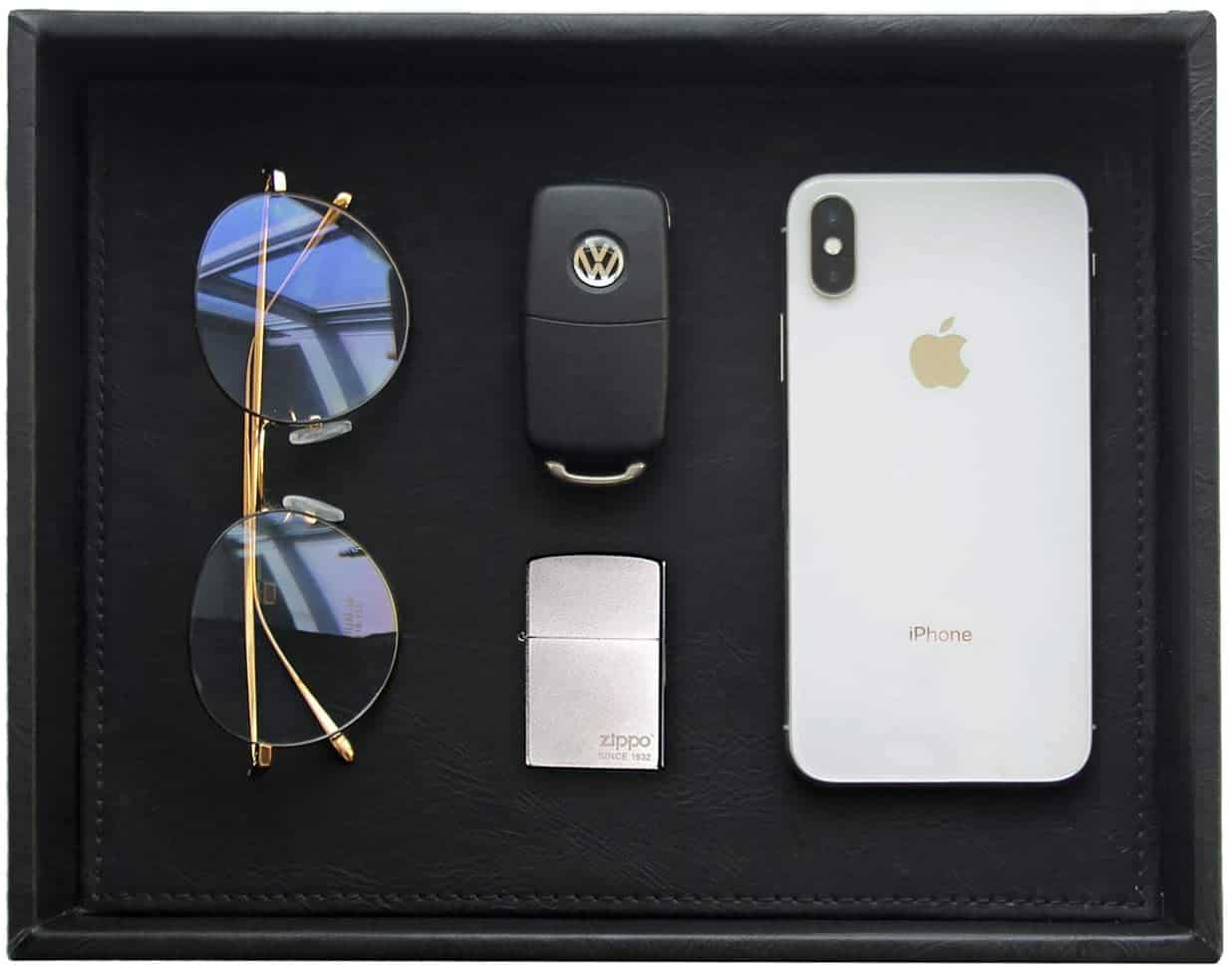 black Catchall Tray with sunglasses, phone and car key on it