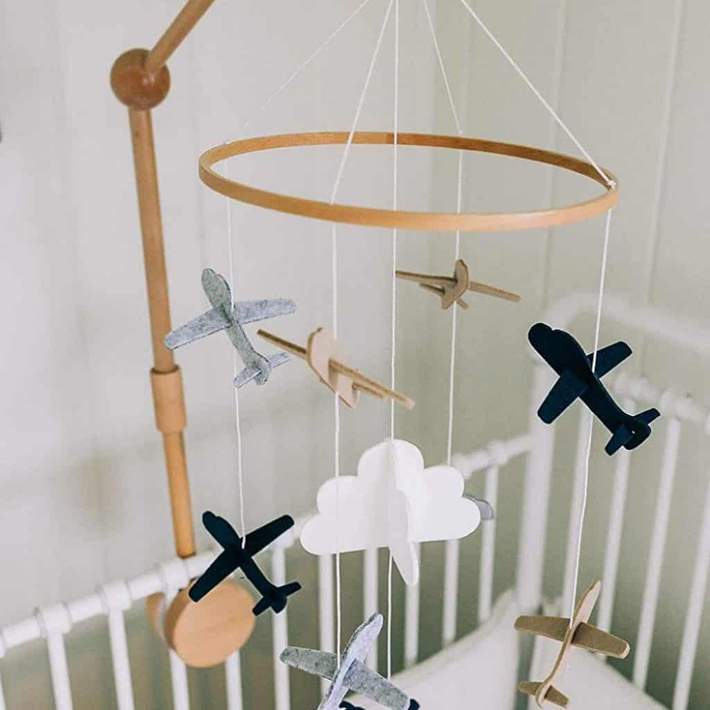 Baby Crib Mobile Airplanes and Cloud Nursery Grey and White Decoration for Boys
