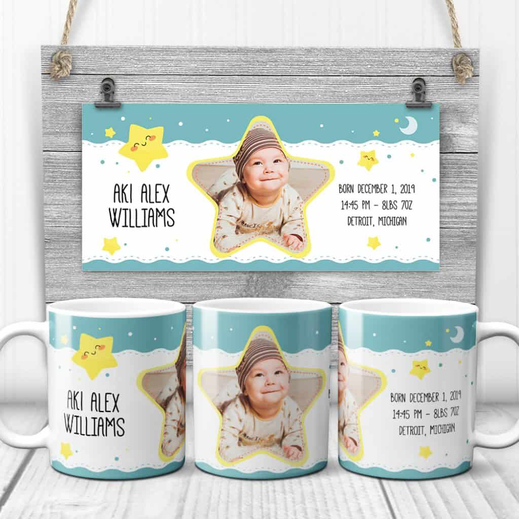 Baby Birth Stat Custom Photo Collage Mug with a picture of a boy