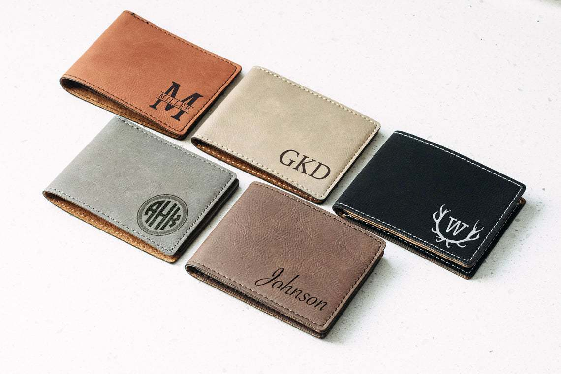 5 Engraved Leather Wallet with different color - groomsmen gifts ideas