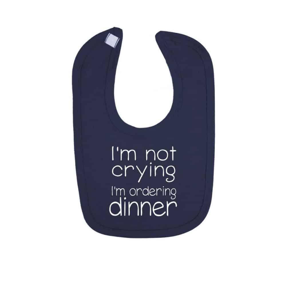 I'm not crying, I'm ordering dinner Baby Bib in dark blue - baby boy gifts