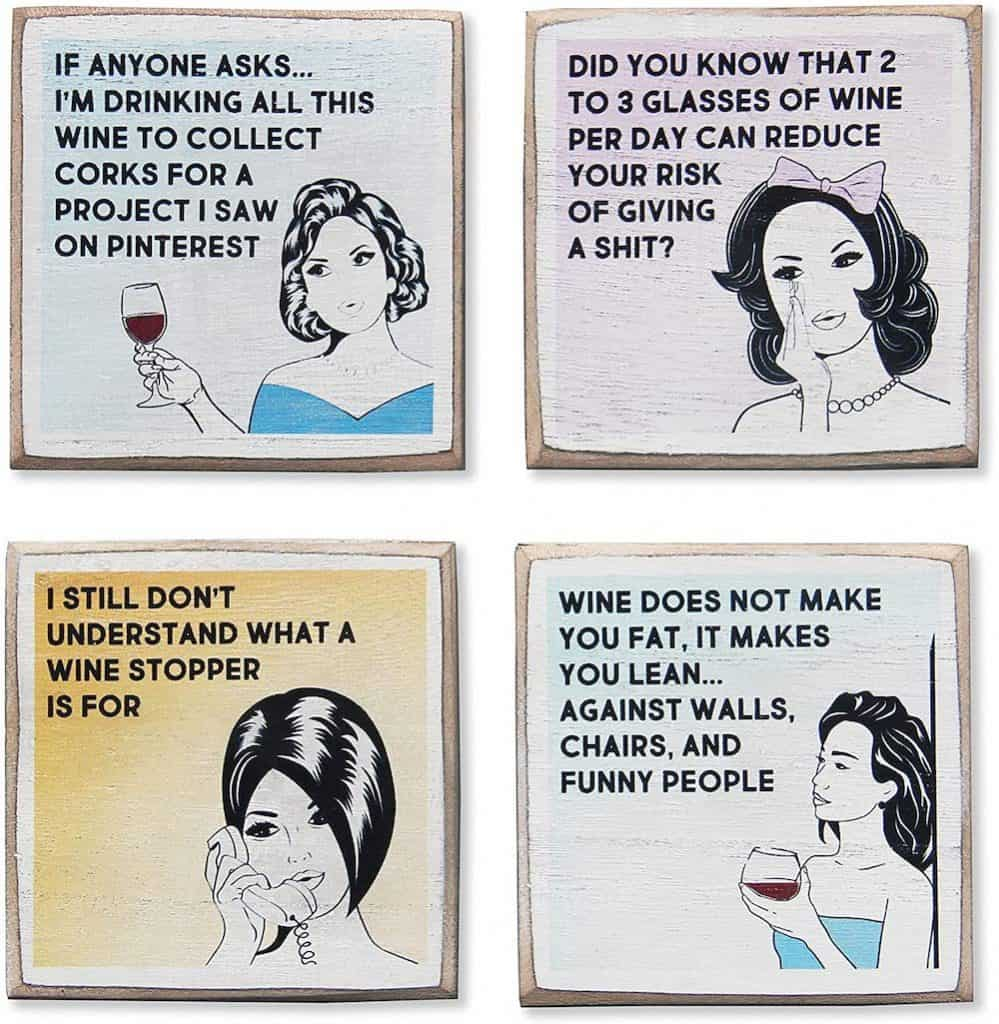 Funny Wine Coasters Set and Holder