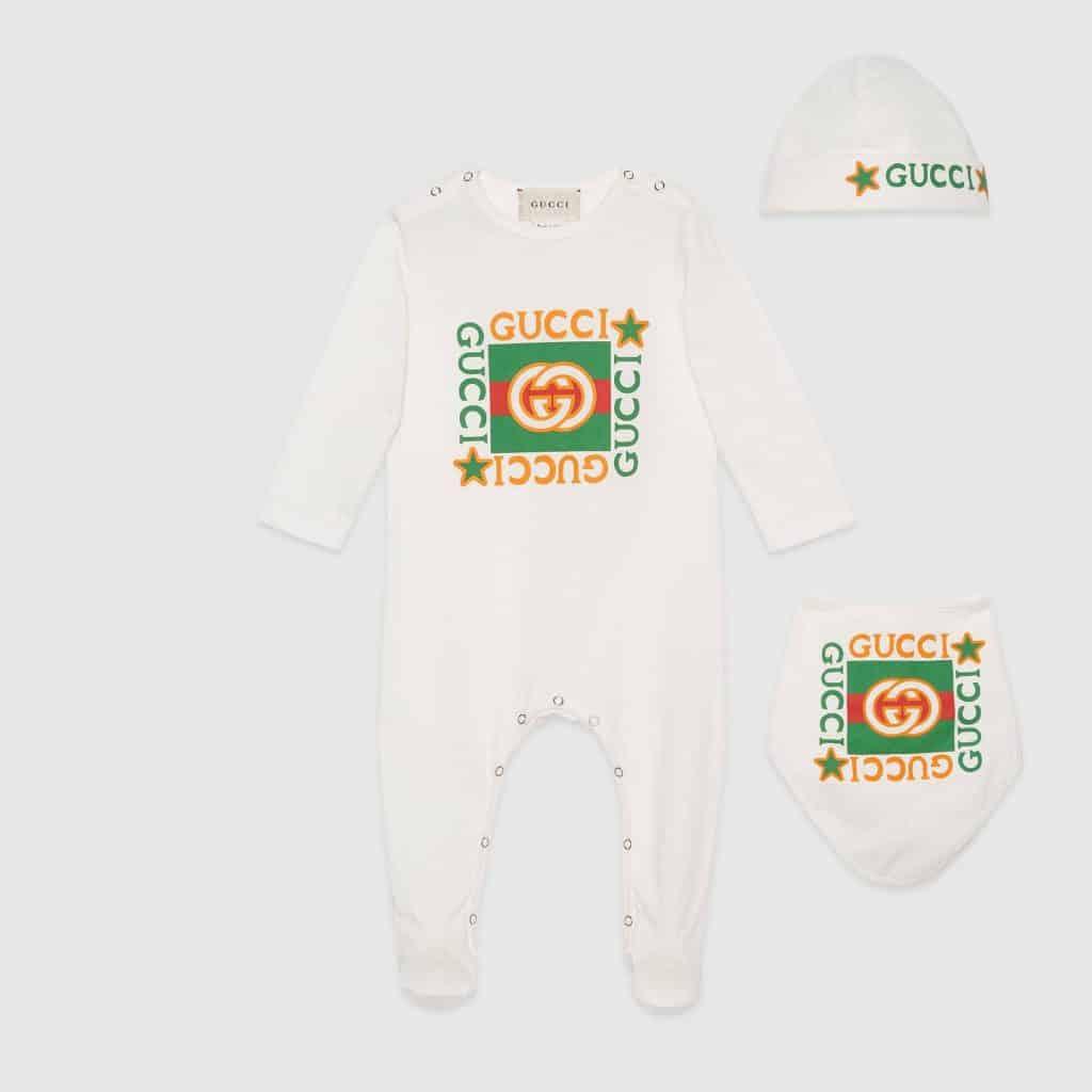 White baby onesie by Gucci, baby boy gifts