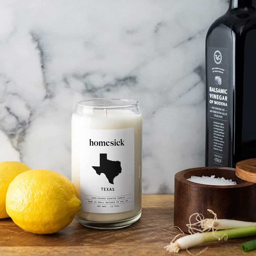 Homesick Scented Candle With Texas Map For Long Distance Friend