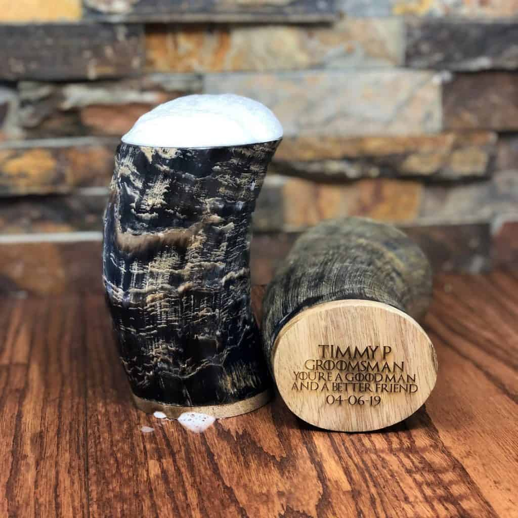 Horn cup with text at the bottom - groomsmen gift ideas
