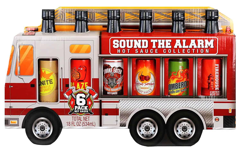 Hot Sauce Gift Set in a firefighter truck - groomsmen gift ideas