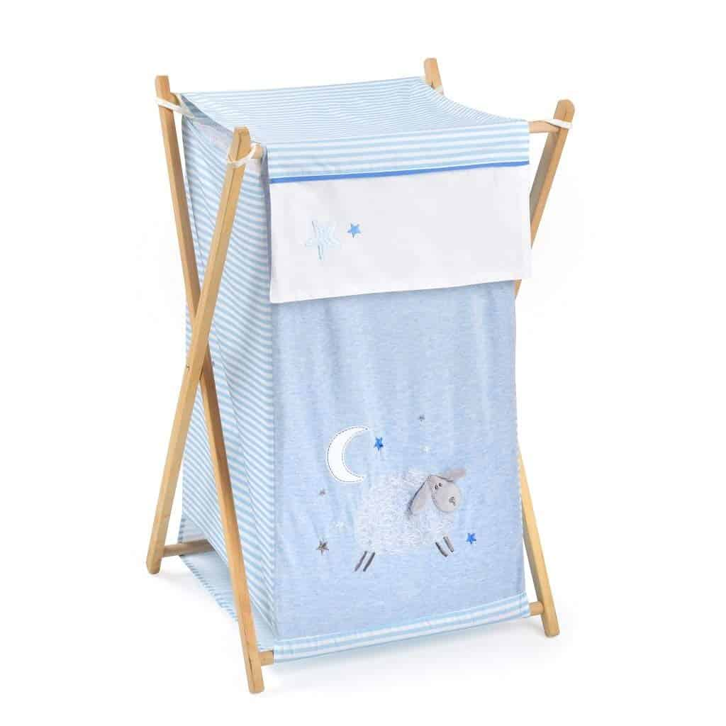 Blue Sheeps Laundry Hamper White Baby Kid Clothes Nursery Hampers with Wooden Stand Folds Flat for Space-Saving Storage