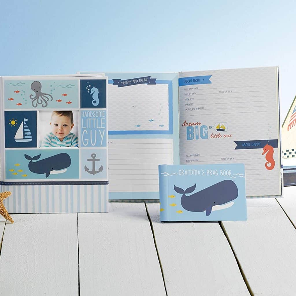 A sea themed memory book for boys - baby boy gifts