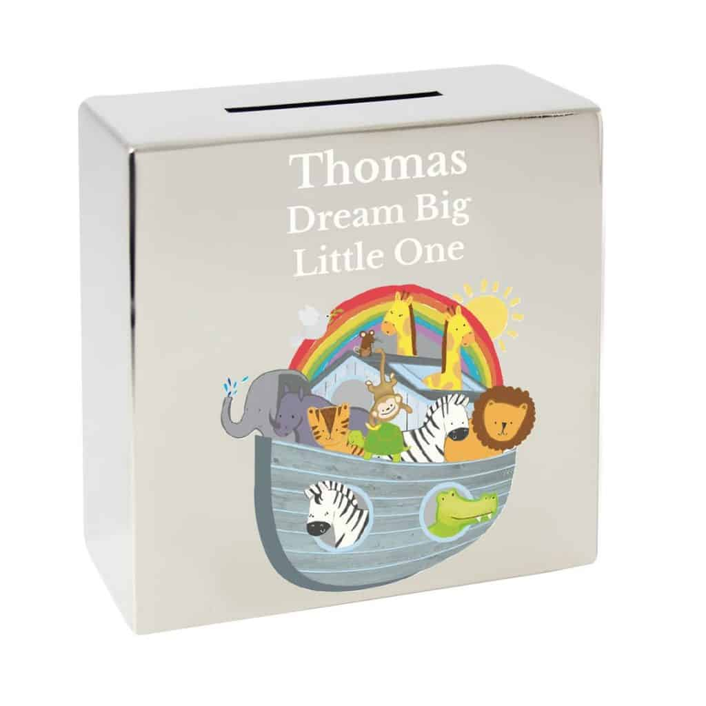 Personalized Children's Money Box Piggy with picture of Noah's Ark