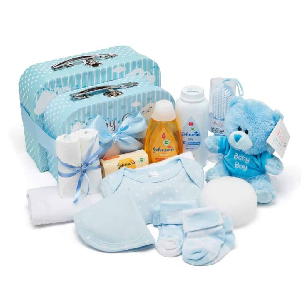 Baby Shower Hamper in Blue with Baby Clothes, Teddy Bear and Gifts Presented in 2 Keepsake Boxes