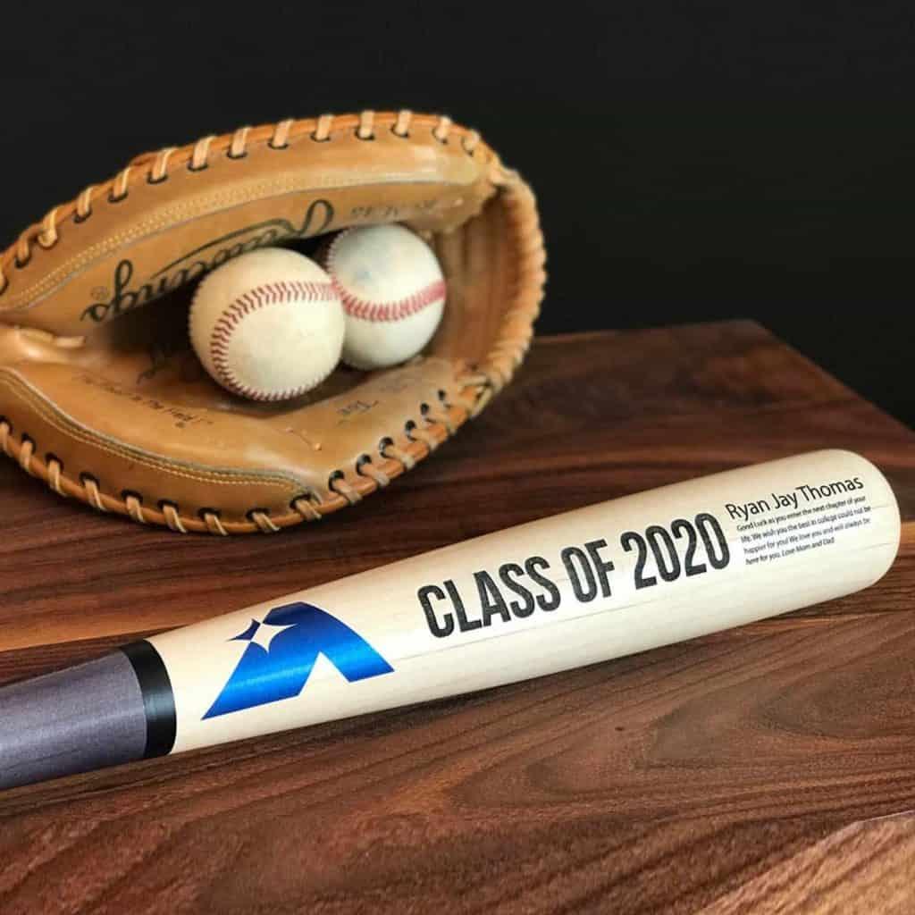 Engraved Baseball Bat and a glove