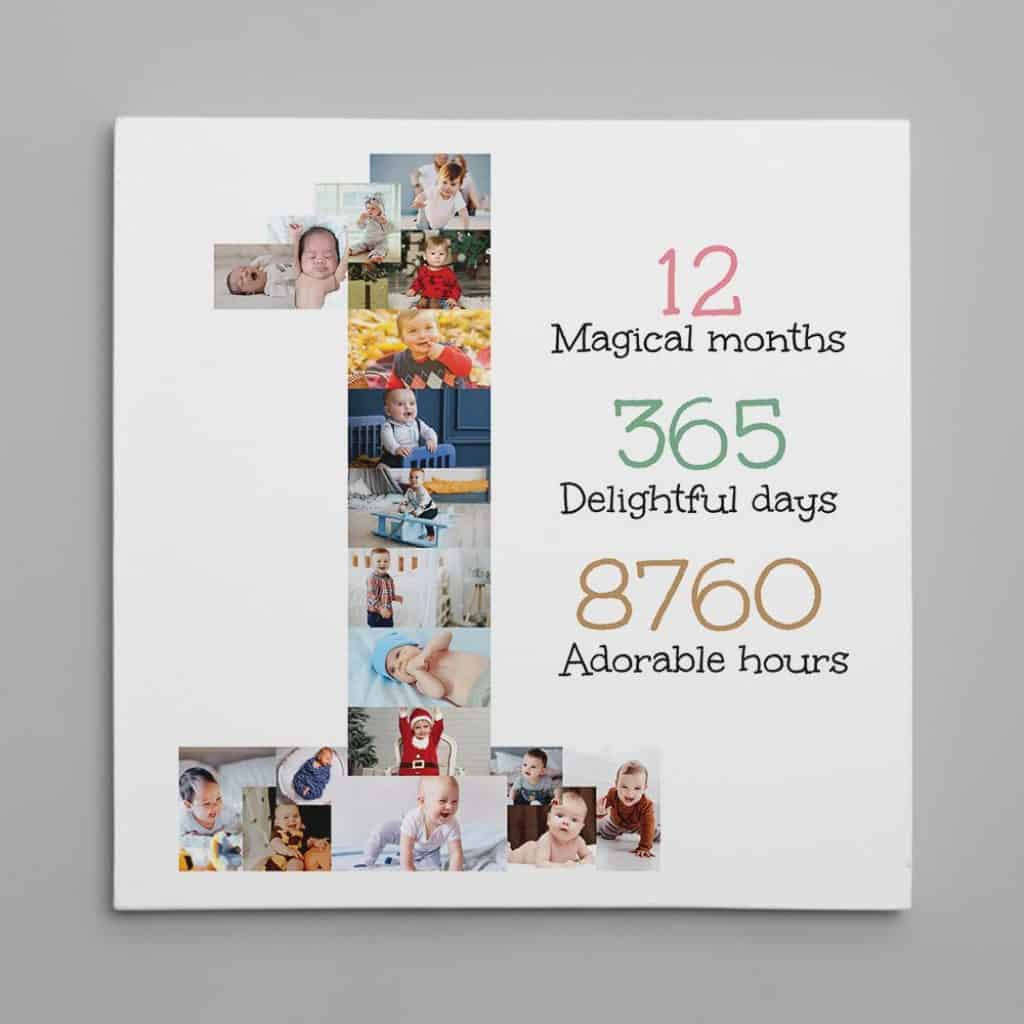 a photo canvas print with pictures of a child in his/her first year