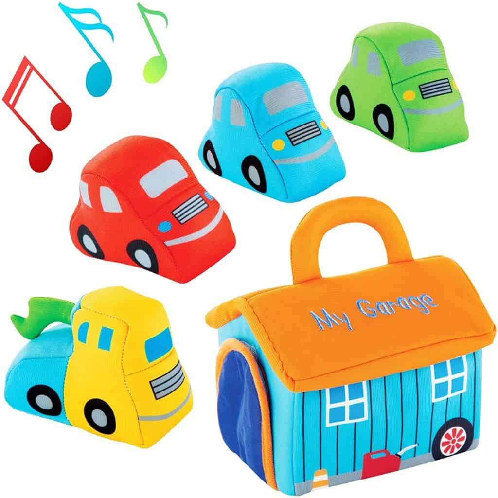 Plush Car Toy Set with Sounds - Red, Blue and Green Cars and Yellow Truck for Toddlers - baby boy gifts