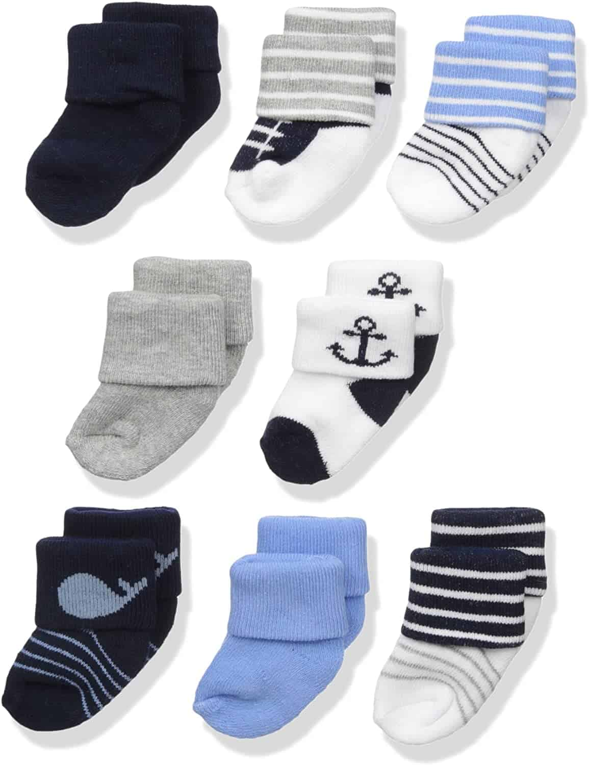 8 pairs of sock for baby with different colors - baby boy gifts