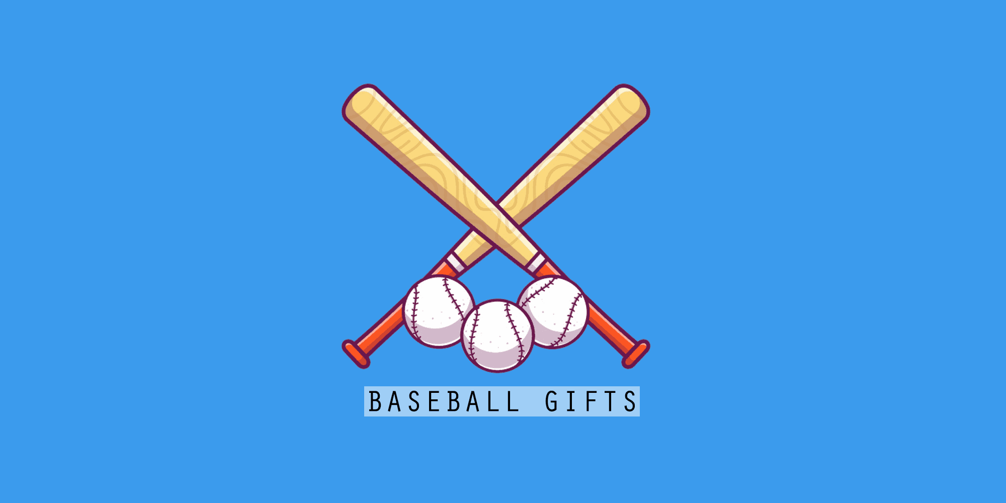 baseball gifts banner with baseball pats and ball