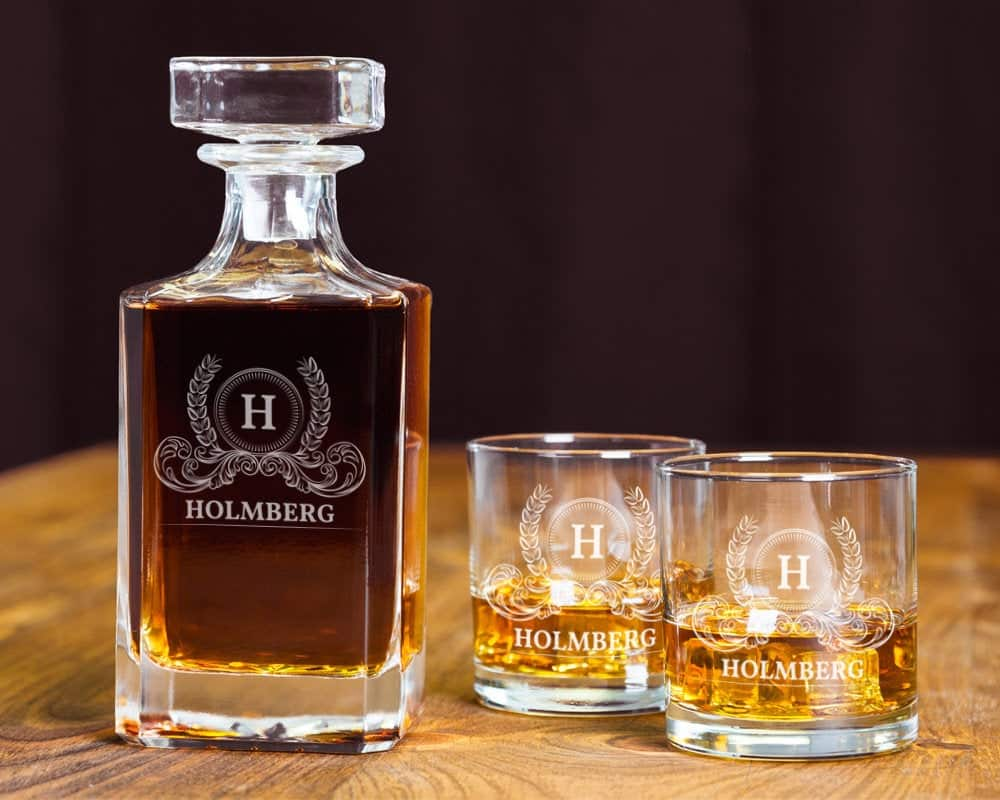 gifts for whiskey lovers: engraved decanter set