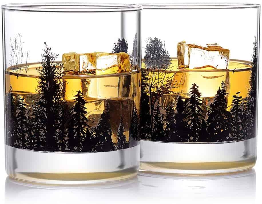 whiskey gift idea: forest landscape whiskey glass
