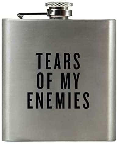 "gag gift for men: ""tears of my enemy"" hip flask"