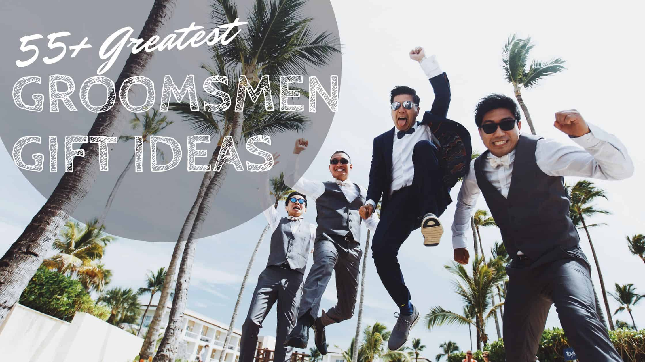 groom and groomsmen jumping up - groomsmen gift ideas