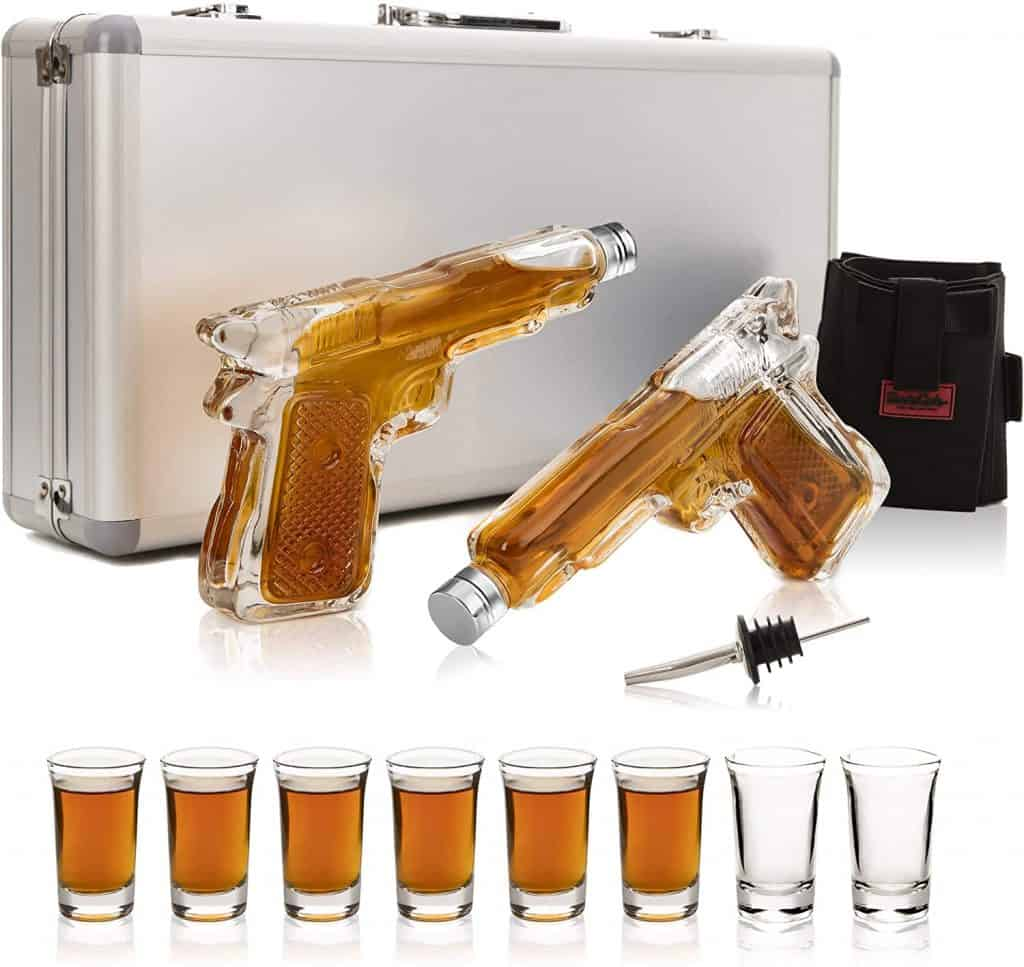 cool gifts for whiskey lovers: Gun Whiskey Decanter and Glass Set