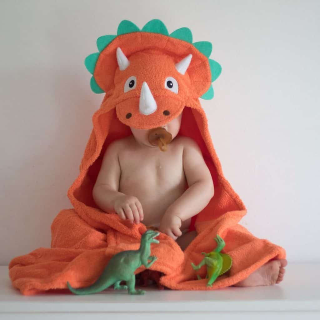 Orange Triceratops hooded towel - baby boy gifts
