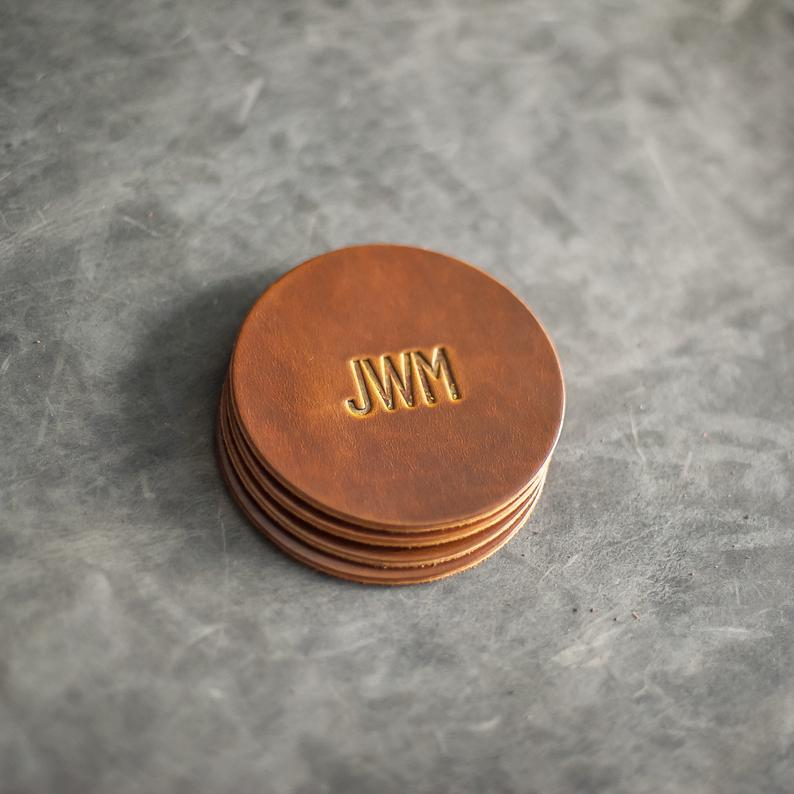 custom whiskey gift: Personalized Leather Coasters Set