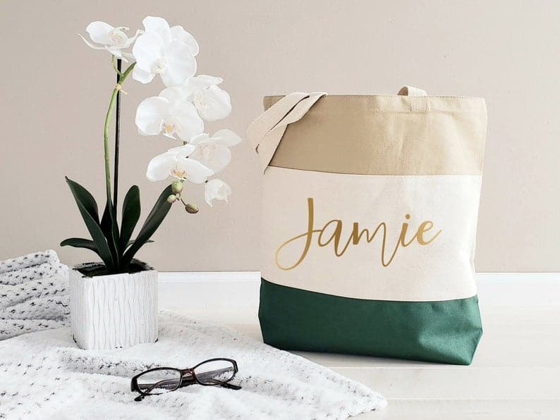 simple birthday gifts for her: personalized tote bag