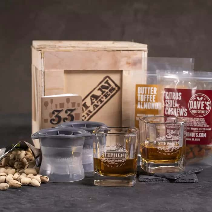 gifts for whiskey lovers: Personalized Whiskey Crate gift set