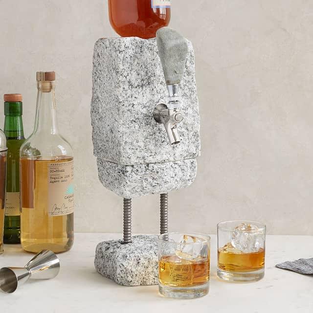 gift idea for whiskey lovers: stone drink dispenser