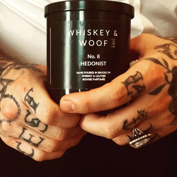 whiskey gift idea: whiskey & leather scented candle